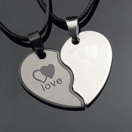 Wholesale Couple Necklace Black Gold - 2018 Couples Jewelry Broken Heart Necklaces Black Couple Necklace Stainless Steel Engrave Love You Pendants Necklace