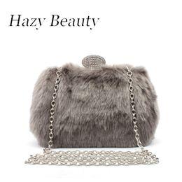 Wholesale Mini Sling Bags - Hazy beauty fur brand design women evening bag mini party purse hot winter stylish girls chic sling bag banquet handbag A386