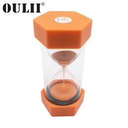 Temporizador rojo online-OULII 2 Minutos Reloj de arena de color rojo anaranjado Hexágono simple Reloj de arena de arena Seguridad de plástico Reloj de arena Reloj de arena