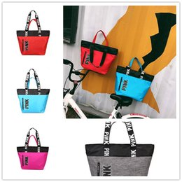 Wholesale love pink large - Pink Letter Handbags Shoulder Bag Women Love Pink Tote Shopping Bags Large Capacity Duffle Striped Bag VS Handbag Travel Beach Bags hot