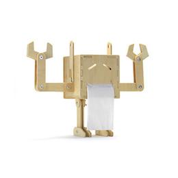 Tipi di robot online-Creativo Robot Divertente FAI DA TE In Legno Scatola Del Tessuto Assemblaggio Caso Del Tessuto Tipo di Rotolo Portatovaglioli Casa Decorazione Auto Ornamenti Regali