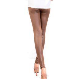 Nuove gambali in pelle online-A buon mercato Think Slim Nuove donne invernali Leggings Leather Pants Boots Leggings Slim Warm Pants Cartoon Woman Pants Pantaloni Leggings FS5767