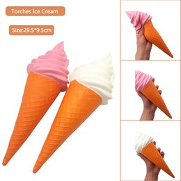 Wholesale Food Ice - Squishy Giant Torch Ice Cream Jumbo 29.5cm Squeeze Slow Rising Simulation Food Home Decoration Relieve Stress Kid Toys