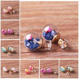 Wholesale Korean Ladies Glasses - Korean Fashion Women Lady Elegant Rose Glass Ball Flower Rhinestone Metal Stud Earrings For Women Jewelry Earring Free DHL D896S