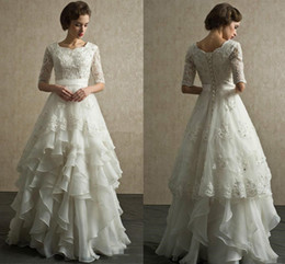 Wholesale scoop back sequin dress - Vintage Half Sleeves Wedding Dresses Scoop Neck Appliqued Beaded Tiered Organza Floor Length country Beach Wedding Gowns Lace Up