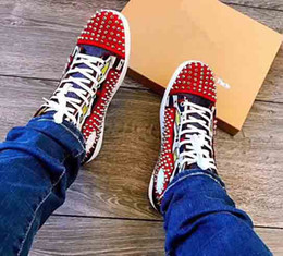 ba3482271fcd plastic spikes Coupons - High Quality Casual Shoe Man Woman Red Bottom  Sneaker Fashion Patchwork Shining