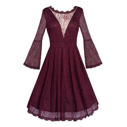 ff2bfaca142 Gothic Burgundy Lace Sexy Swing Women Dress Autumn Party Elegant Ladies  Hollow Backless Pleated Slim Prom Princess Midi Dresses