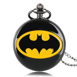 Wholesale Acrylic Necklace Kids - Batman Black Modern Quartz Pocket Watch Necklace Full Hunter Women Men Fob Watches Boy Fashion Clock Kids Gift