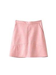 e494a76519 2018 primavera cintura alta Skrit PU falda falda de las mujeres de cuero de  color rosa amarillo negro verde azul cremallera mini falda mujeres