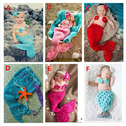 Wholesale Woven Baby - Hand-woven wool knitted cap baby one hundred days photography props newborn baby photography mermaid series