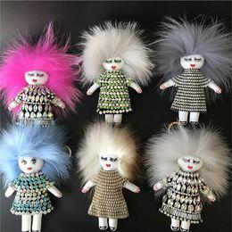 Wholesale Girls Bling Bags - Real Fox Fur Crystals Rhinestones Bling Tchi Tchi Doll Monster Bag Charm Keyring