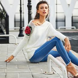 07566fab3 blusas florais para mulheres Desconto 2018 Nova Moda Das Mulheres Camisolas  Bordados Fora Do Ombro Pulôver