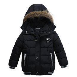 Wholesale 5t Snowsuit - 2018 Free shipping Winter Baby Warm Down Coat Baby Boys Jacket Hooded Long Sleeve Children Solid Kids Outerwear Fashion Snowsuit
