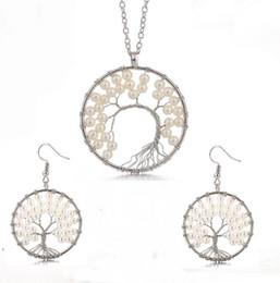 vita dell'albero della perla Sconti Perle Wire Winding Tree Of Life Orecchini pendenti Collana Set di gioielli Saggezza Albero / Money Orecchini Orecchini Donna 7 Collana Chakra
