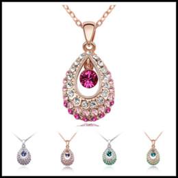 Wholesale Bulk Pearls - Bulk Lots 7 Colors Silver&Gold Chokers 3cm Crystal Diamond Water Drop Pendants Bohemia Styles Jewelry for Party Wedding