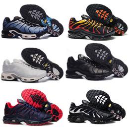 Wholesale Plus Size Rubber - 2018 Newert Mens Running Shoes TN Shoes Men PLUS TXT TN Black shoes Lace Sneakers Size US 7-12