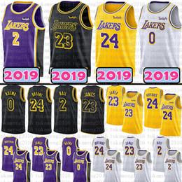 2019 Los Angeles 24 Kobe Bryant 23 LeBron James Lakers Camisa De Basquete  Preto De Ouro 2 Lonzo Bola 0 Kyle Kuzma Jerseys 2018 Homens Jovens Adulto cf910a650879c