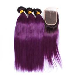 Wholesale Purple Human Hair - Doheroine Pre-Colored Human Hair Bundles With Closure Bazilian Straight Human Hair 3 Bundles With lace Closure 1B Purple Ombre Color Bundles