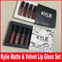 Wholesale White Color Lipstick - Kylie jenner Liquid lipstick cosmetics lipgloss MATTE VELVET 4colors set kollection Makeup lip gloss Black white box