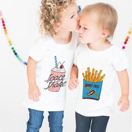 2019 roupa dos meninos franceses INS Crianças T-shirt Meninos Batatas Fritas Impresso T-shirt Crianças Verão de Manga Curta Sorvete Roupas Meninas t Camisas Roupas Crianças desconto roupa dos meninos franceses