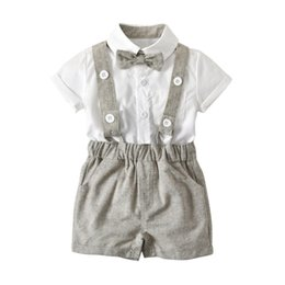Wholesale Baby Boy Plaid Overalls - 2018 England style Baby Boy clothing Outfits Gentle Bow shirt + Plaid Overall shorts Toddler Wedding Party clothes Wholesale 6M-3T