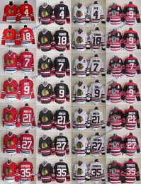 Tony esposito jersey on-line-Vintage Chicago Blackhawks 9 Bobby Casco 21 Stan Mikita 35 Tony Esposito 4 Orr 7 Chris Chelios 18 Savard 27 Jeremy Roenick 75º Camisa De Hóquei