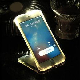 Wholesale Iphone Cases Led Lights - For iPhone X 5 6 7 8 plus Soft TPU LED Case Flash Light Up Remind Incoming Call Cover Shockproof Cell Phone Case