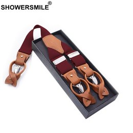 Wholesale male leather shirts - SHOWERSMILE Men Suspender Clips Solid Red Shirt Braces Leather Elastic Male Wide Suspenders 3.5cm Khaki Blue Black Coffee