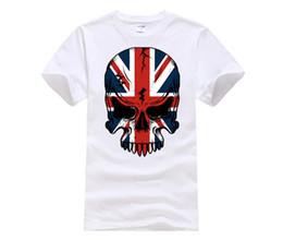 Wholesale union jack black - 100% cotton O-neck printed T-shirt Union Jack Day of Dead Skull T-shirt UK Tattoo Art Tee