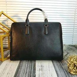 Wholesale italy brand bag - AAA Brand Men Briefcase Italy Genuine Real Leather Men handbag Computer Laptop Handbag Shoulder Bag Messenger Bags Men's Travel Bags Black