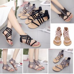 Wholesale Rubber Clogs Women - 3 Colors Women Rome Hollow Out Sandals Ankle Strappy Gladiator Thong T Strap Flat Casual Beach Shoes Summer Girls Sandals Clogs AAA437