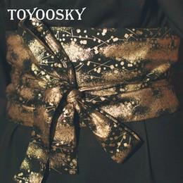 2018 Diseñador de lujo estilo japonés Harajuku estilo mujer cinturones anchos cinturón Yukata Gorgeou kimono cinturón ancho para mujeres TOYOOSKY desde fabricantes