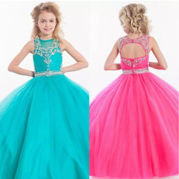 robes courtes gonflées enfant Promotion Belle Tull Jewel Filles Pageant Robes Sheer Neck Cristal Perles Dos Nu Princesse Robe De Bal Enfants De Noce Formel Wear