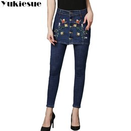 f3f5537c69f45 Embroidery jeans female 2018 high wasit vintage denim jeans women loose  wide leg pants for girls boyfriend plus size
