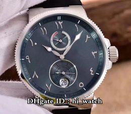 Aço fabricado on-line-Nova Marinha Chronometer Fabricação 263-67-3 / 40 Aço Caso Automático de Reserva de Energia Mens Watch Black Dial Relógios De Borracha Arabian UNA109b2