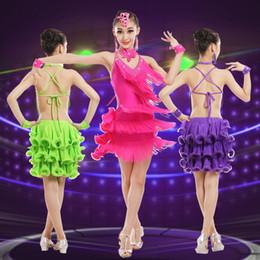 vestito da ballo latino per le ragazze costumi per bambini vestiti da ballo  concorrenza abiti moda sequin paillettes paillettes nappa salsa abiti da ... d675d89505d