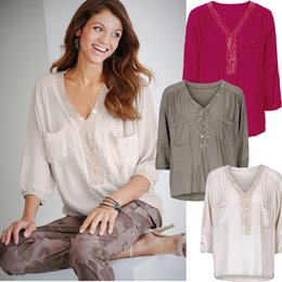 Wholesale Sexy Girls Tee - T-Shirt Women Sequin V Neck Shirts Pocket Fashion Tops Long Sleeve Blouse Loose Casual Tees European America Sexy Blusas Clothing YYA1049