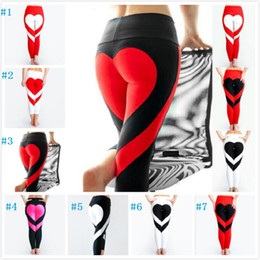 Wholesale gold spandex leggings - Yoga Pants Sports Leggings 2018 Sexy Peach Hips Heart Shape Gym Clothes Spandex Running Workout Women Patchwork Fitness Tights 7 styles