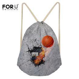 FORUDESIGNS 3D печати корзина мяч Drawstring сумка для мужчин путешествия рюкзаки строка мешок спорт зал для хранения обуви пакет от