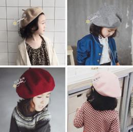 Wholesale Orange Fedora - Girls hat children multicolors woolen beret spring girls princess accessories fashion kids wool blends beanie children bonnet R2354