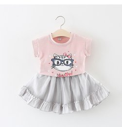 Wholesale t shirts for little girls - Girls Clothing Cat Stripe T-Shirts+Skirts 2pc Outfits Summer Kids Boutique Clothing Little Girls Set for 0~3 Y