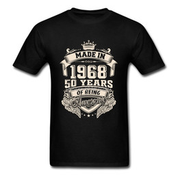 Wholesale flash families - Made In 1968 50 Years Of Being Awesome T Shirt Custom Short Sleeve T-shirt Men Hip Hop Family 3XL Cotton Crewneck Men's Shirts