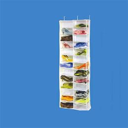 Wholesale hanging tool rack - Multifunction Storage Bags 26 Lattice Door Hanging Holder Shoes Organizer Practical Nonwoven Fabric Closet Shoe Rack High Quality 24my XY