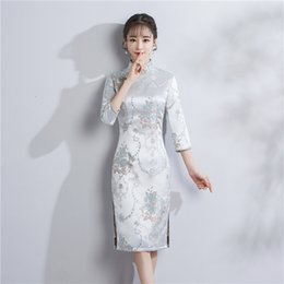Wholesale Long Dress Brocade - Shanghai Story chinese dresses Chinese Traditional Dress Brocade Qipao Cheongsam dress Knee Length Floral Vintage Dress