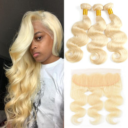 pacotes de encerramento loiro Desconto Brazilian Body Wave 613 Blonde Ear to Ear 13x4 Full Lace Frontal Closure With 3 Bundles Real Virgin Human Hair Blonde Weaves Extension