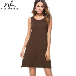 Wholesale Nice Briefs - Nice-forever Causal Brief Solid Color Across Round Neck vestidos Sleeveless Beach Wear Women Straight Loose Shift Dress btyT022