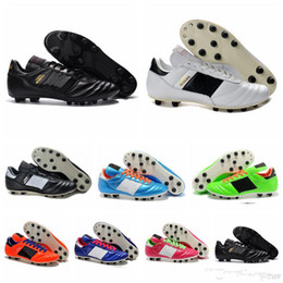 Wholesale World Cup Soccer Shoes - Mens Copa Mundial Leather FG Soccer Shoes Discount Soccer Cleats 2015 World Cup Football Boots Size 39-45 Black White Orange botines futbol