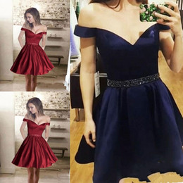 Wholesale Hot Graduation Dresses White Short - 2018 Sexy Hot Newest V-neck Satin Cheap Homecoming Dresses Mini Short Cocktail Prom Party Dresses Graduation Dresses