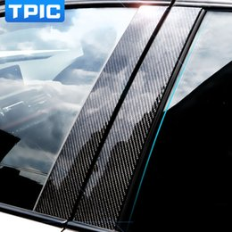 Wholesale Red Light Windows - wholesale Carbon Fiber Car Window B-pillars Decorative Sticker For BMW 3 Series E90 F30 F10 F20 F07 E70 E46 Car Styling Trim Accessories