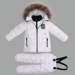92fce52f7d7 -30 Degree Winter Suits for Girls Boys Clothing Sets Children Snow Jackets  + Jumpsuit Pants Kids Duck Down Coats Outerwear Suit
